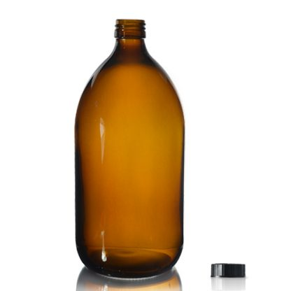 1000ml Amber Glass Syrup Bottle & PP Screw Cap