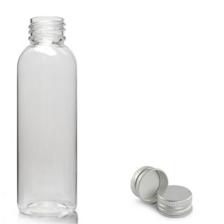 100ml Clear PET Boston Bottle & Aluminium Cap