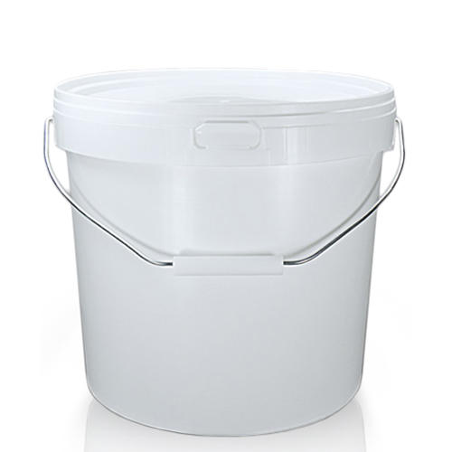12 Litre White Plastic Bucket With Metal Handle And T/E Lid