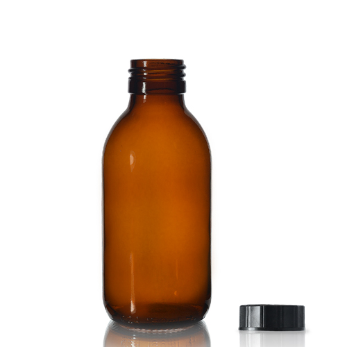 125ml Amber Glass Syrup Bottle & PP Screw Cap