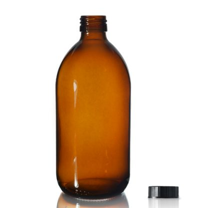500ml Amber Glass Syrup Bottle & PP Screw Cap
