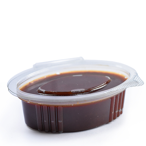 70cc Clear Oval Sauce Pot With Hinged Lid
