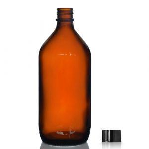 1000ml Amber Glass Winchester Bottle w Black Cap
