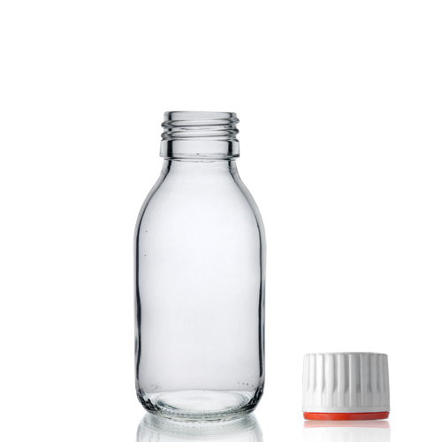100ml Clear Glass Sirop Bottle w Red Band Cap