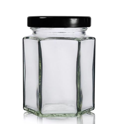 190ml Hexagonal Glass Jar With Lid