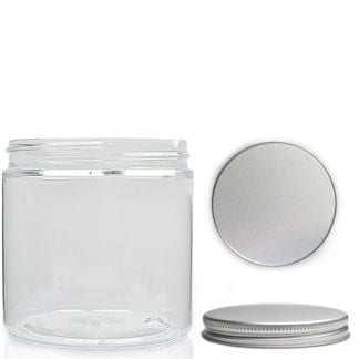 200ml Clear Plastic Jar With Aluminium Lid