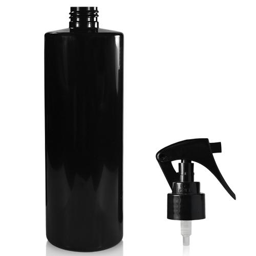 500ml Black Plastic Bottle & Mini Trigger Spray