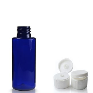 50ml Cobalt Blue PET Plastic Bottle With Flip Top Cap