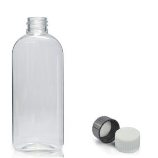 250ml Clear PET Oval Bottle With Cap