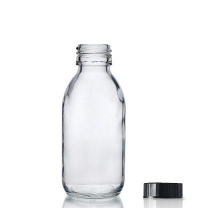 125ml Clear Glass Sirop Bottle w Black PP Cap