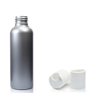 50ml Plastic Silver Bottle with white disc cap