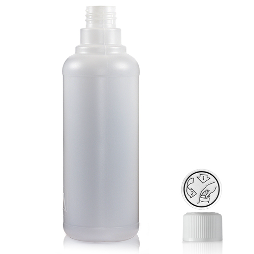 500ml Round Natural HDPE Bottle & Child Resistant Cap - Ultra