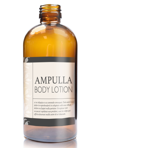 250ml Amber glass Boston Bottle with label